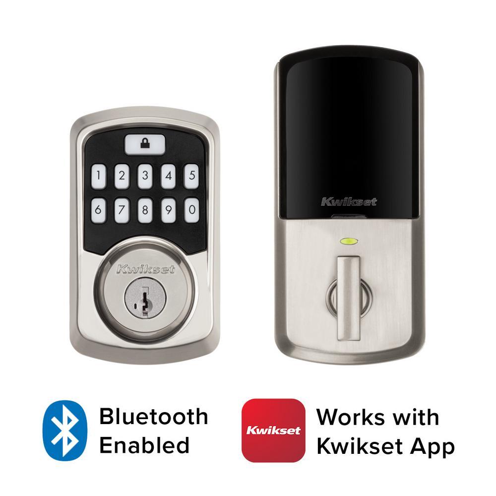 Kwikset Aura Satin Nickel Single Cylinder Electronic Bluetooth Keypad Smart Lock Deadbolt Featuring Smartkey Security 942bledb15smttp The Home Depot