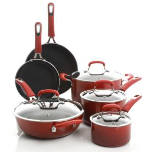 Andover 10-Piece Aluminum Nonstick Cookware Set in Red