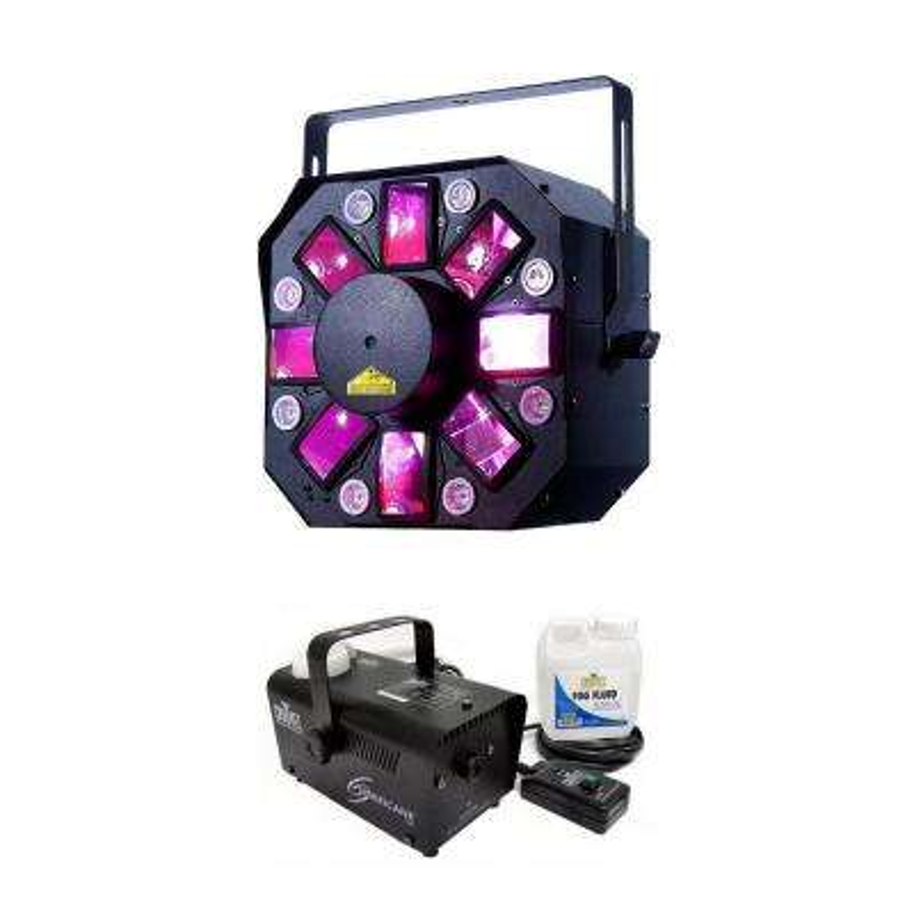 ADJ 3-in-1 FX Light with Chauvet Hurricane Fog Machine