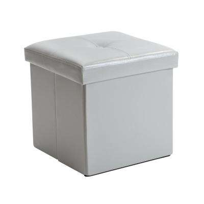 Single Grey Folding Ottoman