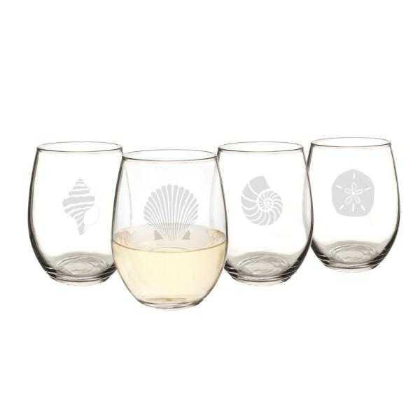Cathy S Concepts Seashell 21 Oz Stemless Wine Glasses Sea 1110 The Home Depot