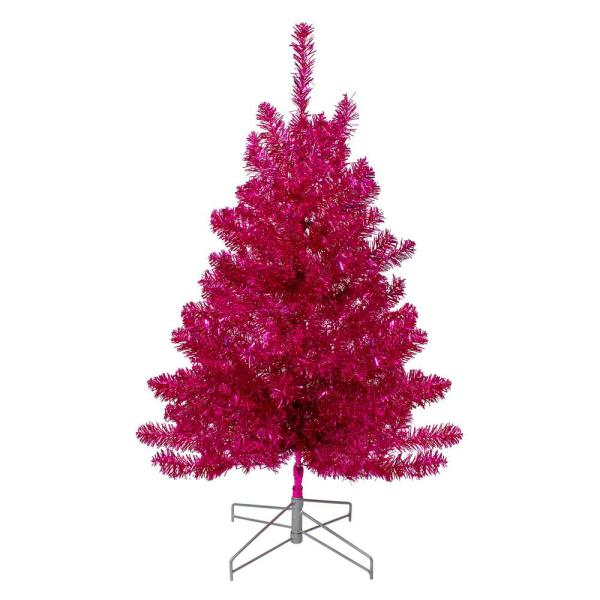 3 ft. Unlit Metallic Pink Tinsel Artificial Christmas Tree