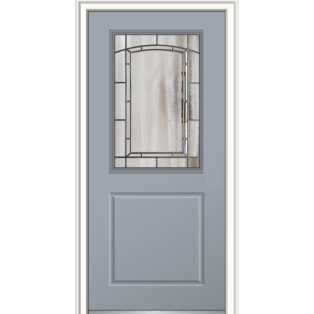 Mmi door 36 in x 80 in solstice glass right hand 1 2 for Prehung entry door with storm door
