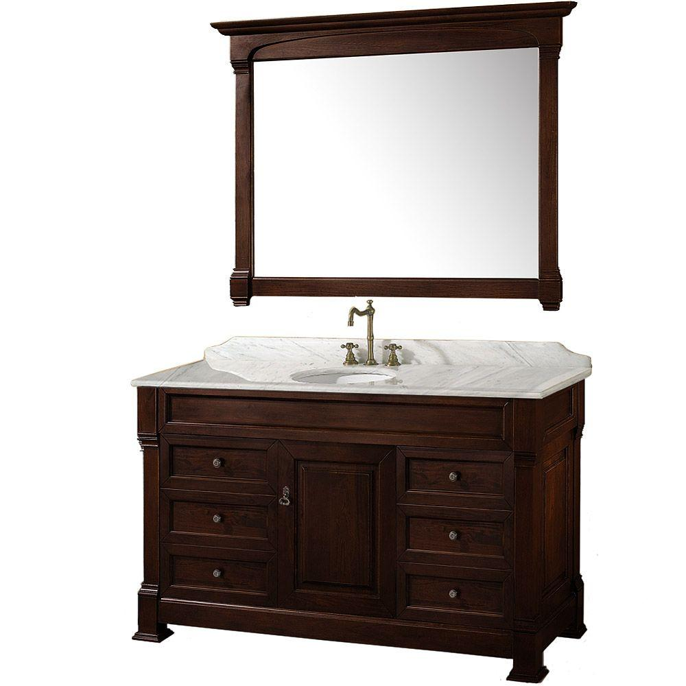 Wyndham Collection Andover 55 in. Vanity in Dark Cherry with Marble Vanity Top in Carrera White and Mirror