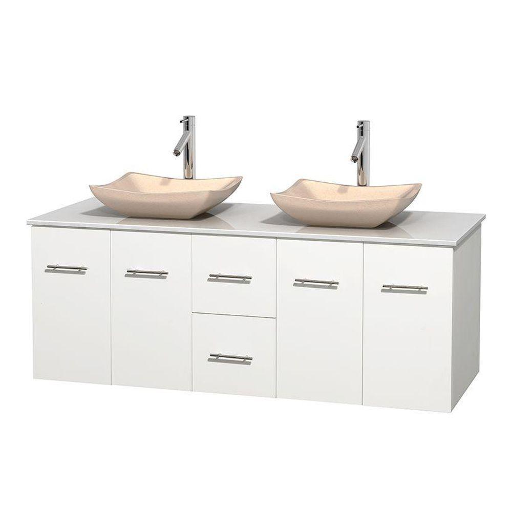 Wyndham Collection Centra 60 in. Double Vanity in White with Solid-Surface Vanity Top in White and Sinks