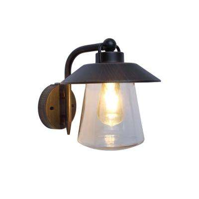 1-Light Rust Outdoor Wall Mount Lantern with Photocell