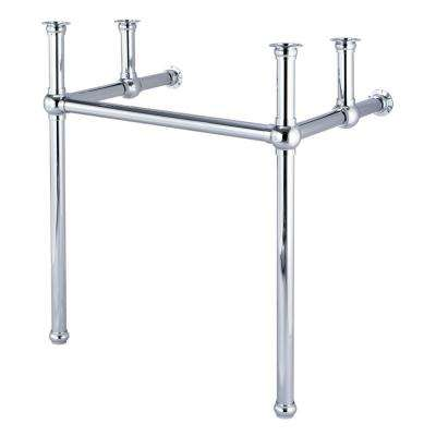Embassy 30 in. Brass Wash Stand Legs with Chrome Connectors and P-Trap Kit