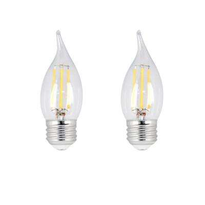 60-Watt Equivalent CA10 Candelabra Dimmable Filament CEC Clear Glass Chandelier LED Light Bulb, Soft White (2-Pack)