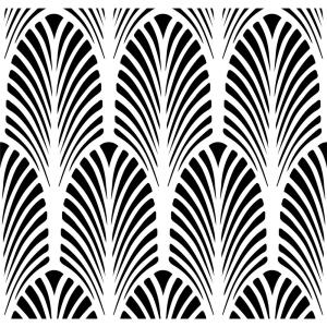 Designer Stencils Art Deco Fan All Over Wall Stencil by Designer Stencils