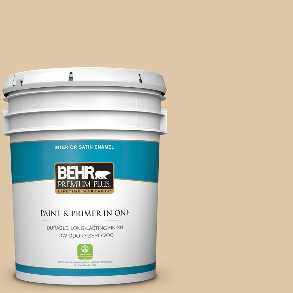 BEHR Premium Plus 5-gal. #PWL-82 Pita Bread Zero VOC Satin Enamel Interior Paint