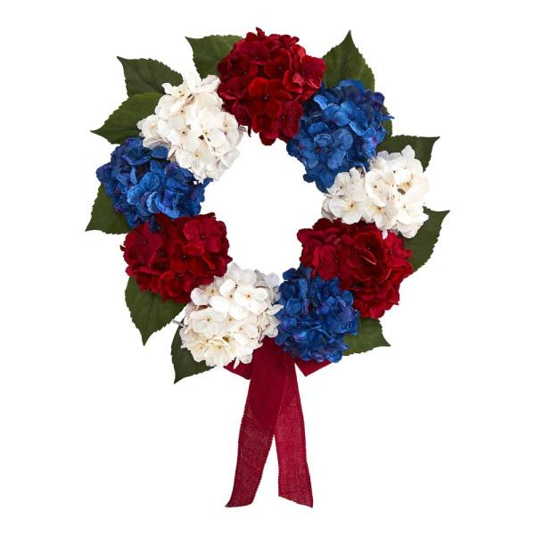 24 in. Red, White and Blue Americana Hydrangea Artificial Wreath