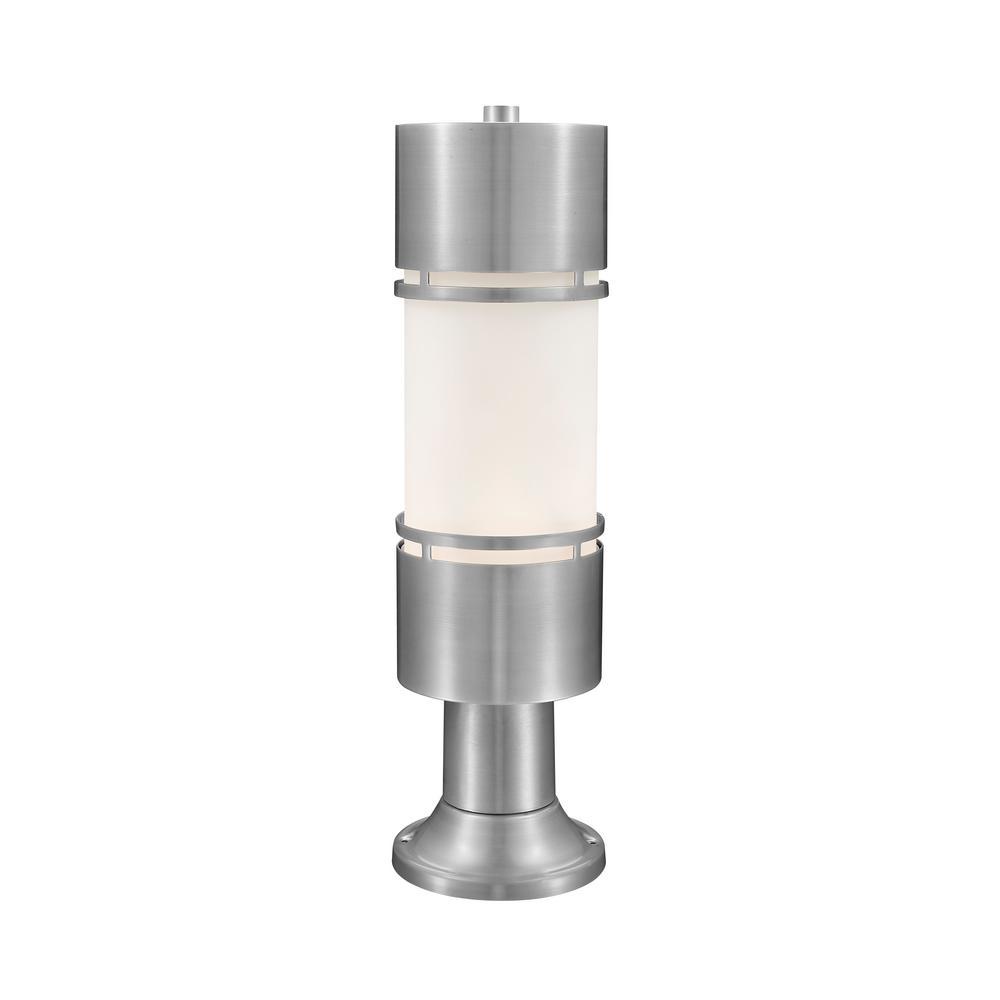 Seija 75-Watt Equivalent Outdoor Brushed Aluminum Integrated LED Post Light with