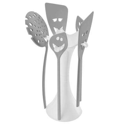 MEETING POINT Cotton White Cool Grey Utensil Stand Set (Set of 5)