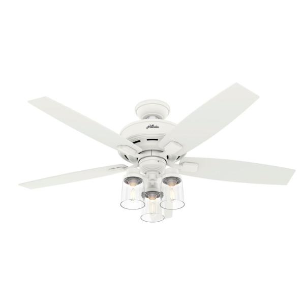 Bennett 52 in. LED Indoor Matte White Ceiling Fan with Light and Remote Control