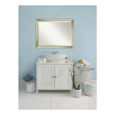 Vegas Curved Silver Wood 45 in. W x 35 in. H Single Casual Bathroom Vanity Mirror