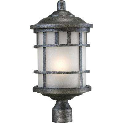 Haven 1-Light Outdoor Aged Silver Post Light