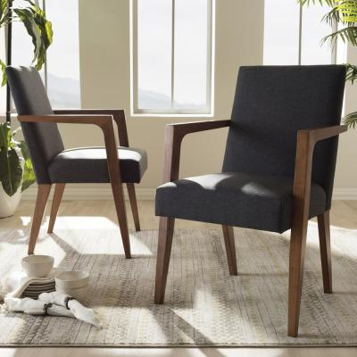 Andrea Gray Fabric Upholstered Arm Chairs (Set of 2)