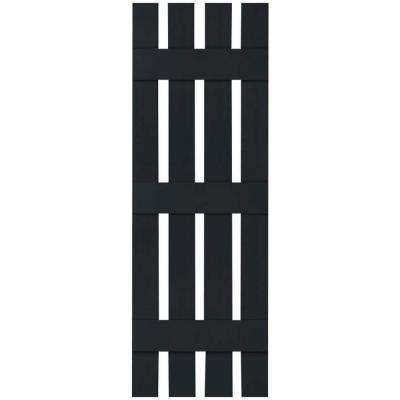 16-1/4 in. x 59 in. Lifetime Vinyl Custom Four Board Spaced Board and Batten Shutters Pair Black