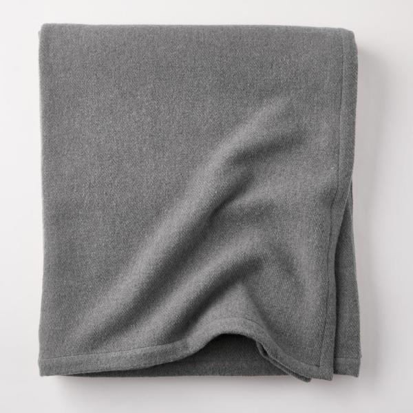 Lambswool Solid Gray Twin Woven Blanket