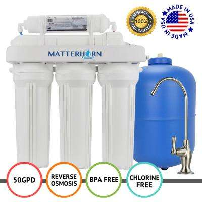 5-Stage Under-Sink Superior Reverse Osmosis Water Filter System 50 GPD Membrane