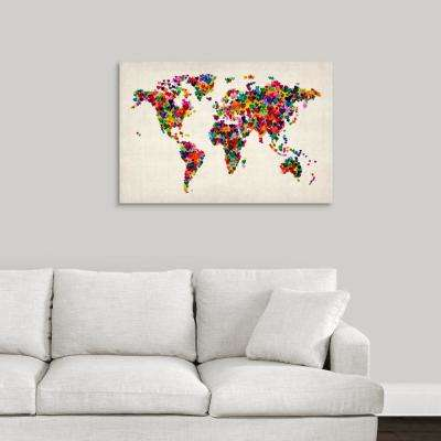 """World Map Hearts, Multicolor on Parchment"" by  Michael Tompsett Canvas Wall Art"