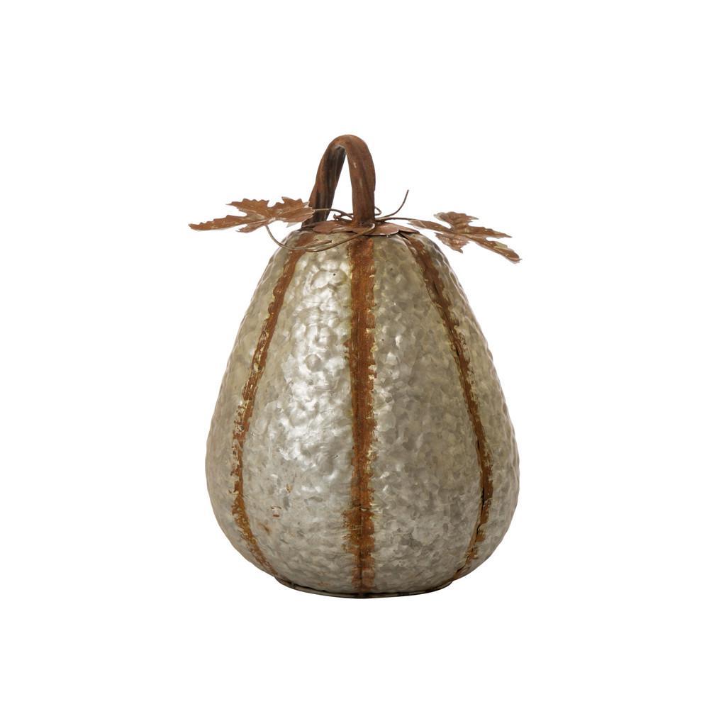 14 in. H Galvanized Metal Tall Pumpkin