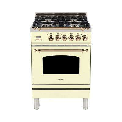 24 in. 2.4 cu. ft. Single Oven Italian Gas Range with True Convection, 4 Burners, Bronze Trim in Antique White