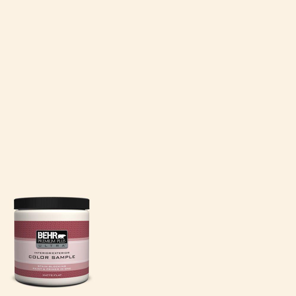 Behr Premium Plus Ultra 8 Oz Pwn 31 Candlelight Ivory Matte Interior Exterior Paint And Primer
