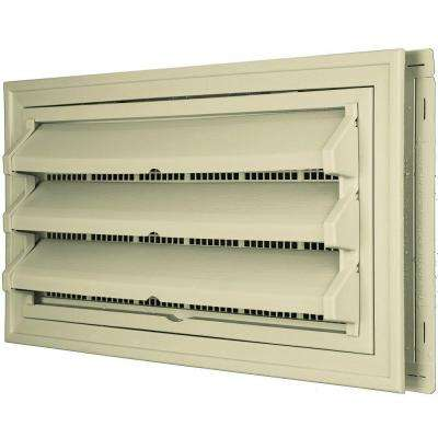 9-3/8 in. x 17-1/2 in. Foundation Vent Kit with Trim Ring and Optional Fixed Louvers (Molded Screen) in #049 Almond