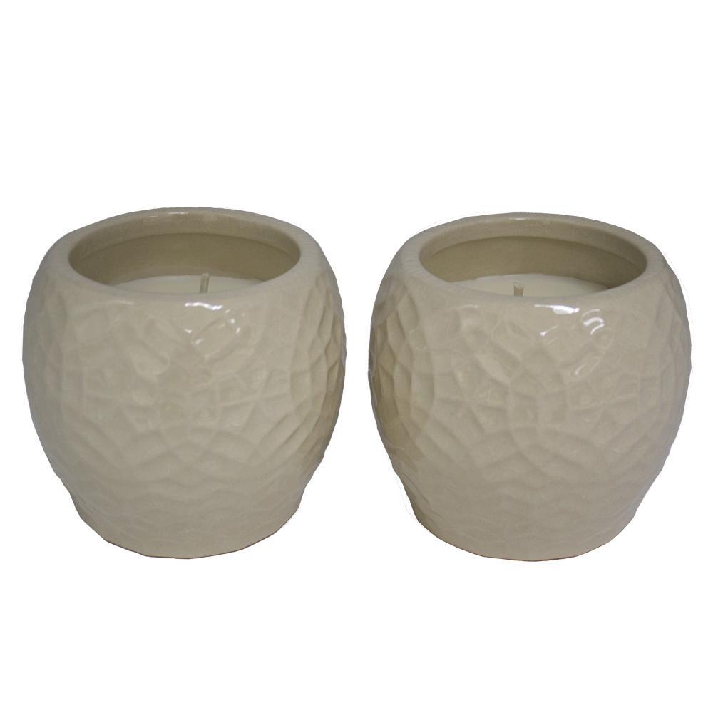 4 in. Cream Rivage Ceramic Citronella Candles, Set of 2