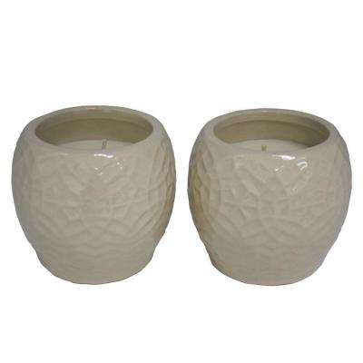 4 in. Cream Rivage Ceramic Citronella Candles, Set of 2
