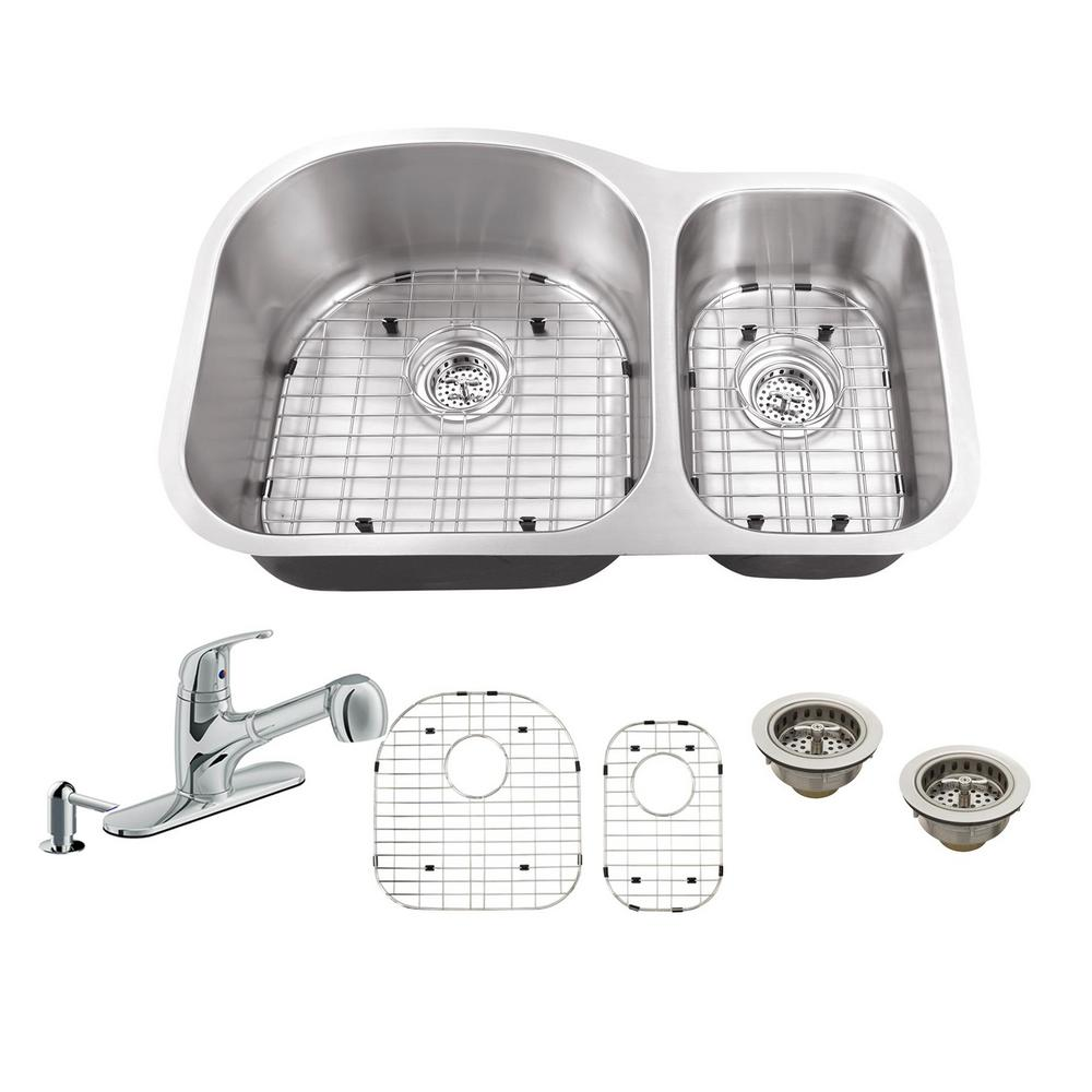 IPT Sink Company All-in-One Undermount Stainless Steel 31.5 in. 70 ...