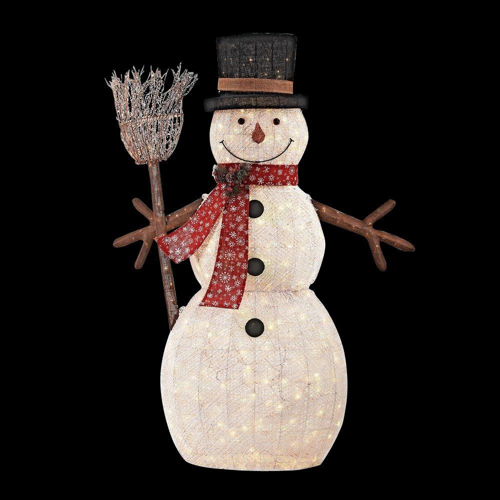home accents holiday 72 in led lighted pvc cotton string snowman with broom ty136 1614 the. Black Bedroom Furniture Sets. Home Design Ideas