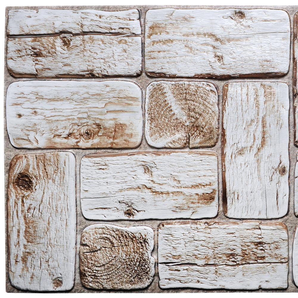 3D Falkirk Retro 10/1000 in. x 38 in. x 19 in. White Faux Logs PVC Wall Panel