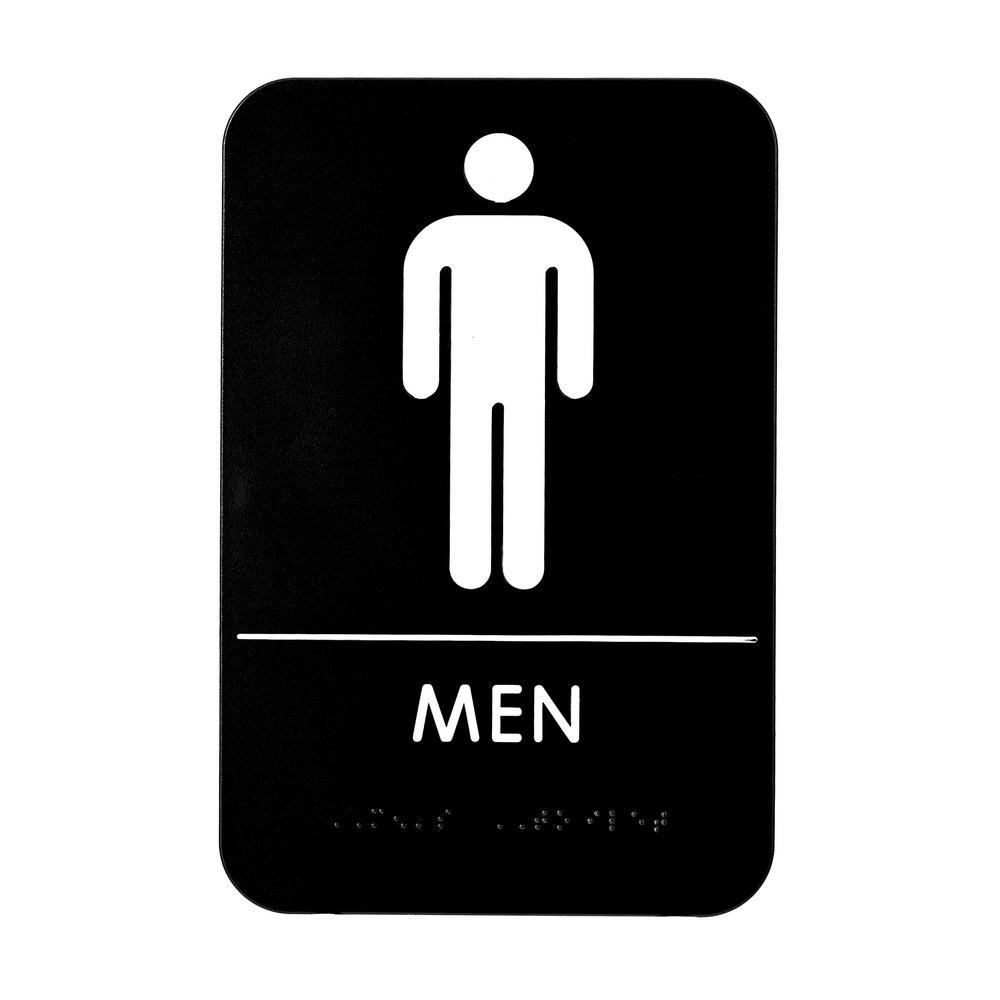 9 in. x 6 in. Men Braille Restroom Sign