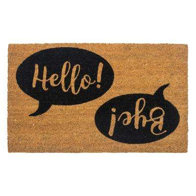 Hello Bye 28 in. x 17 in. Non-Slip Coir Door Mat