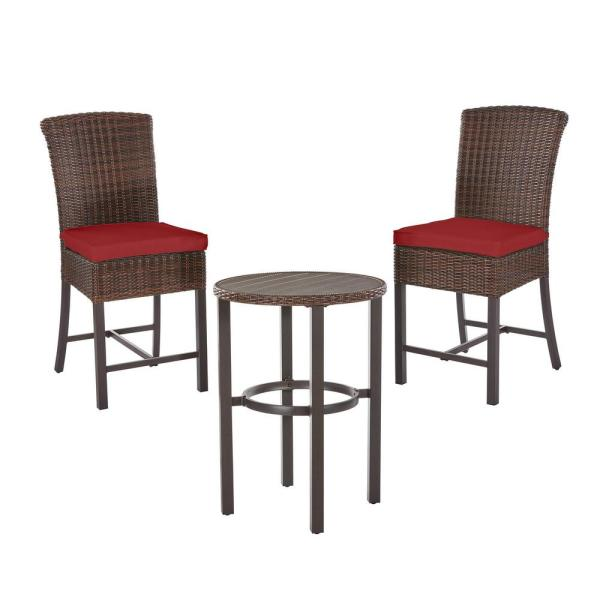Harper Creek Brown 3-Piece Steel Outdoor Patio Bar Height Dining Set with CushionGuard Chili Red Cushions