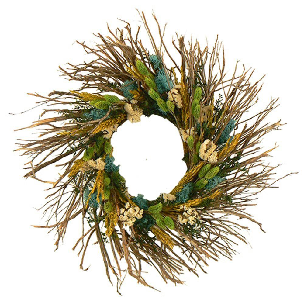 The Christmas Tree Company Wild Cyan Parade 22 in. Dried Floral Wreath-DISCONTINUED