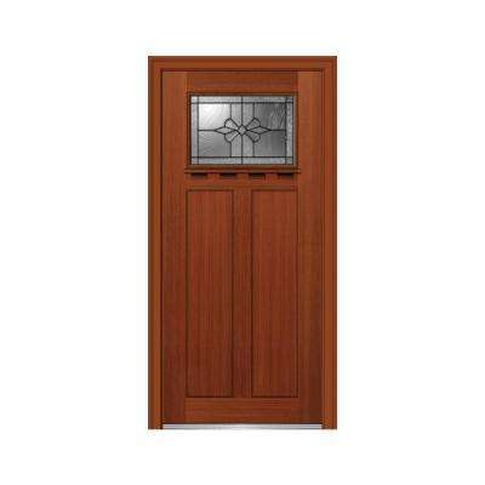 36 in. x 80 in. Dahlia Right-Hand Inswing 1-Lite Decorative Craftsman Stained Fiberglass Fir Prehung Front Door w/ Shelf