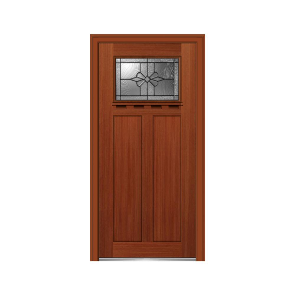 32 in. x 80 in. Dahlia Left-Hand Inswing 1-Lite Decorative Craftsman Stained Fiberglass Fir Prehung Front Door w/ Shelf