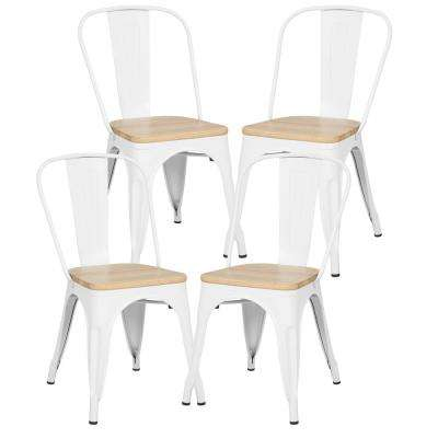 Trattoria White Side Chair in with Oak Seat (Set of 4)