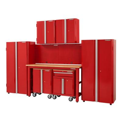 145 in. W x 98 in. H x 24 in. D Steel Garage Cabinet Set in Red (8-Piece)