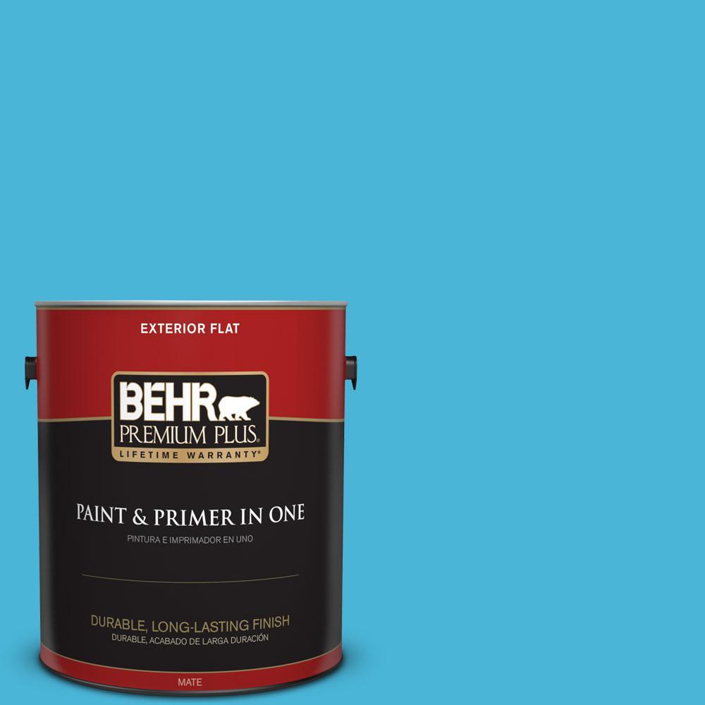 BEHR Premium Plus 1-gal. #P490-4 Aztec Sky Flat Exterior Paint