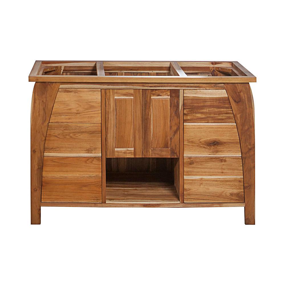 Tranquility 48 in. L Teak Vanity Cabinet Only in Natural Teak