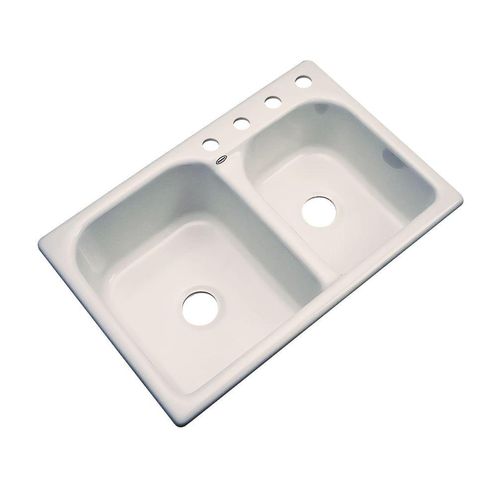 Cambridge Drop-In Acrylic 33 in. 4-Hole Double Bowl Kitchen Sink in