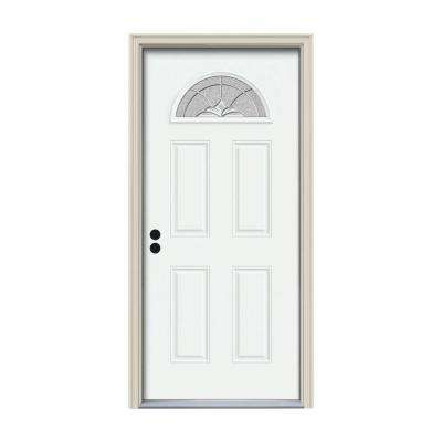 32 in. x 80 in. Fan Lite Langford White Painted Steel Prehung Right-Hand Inswing Front Door w/Brickmould