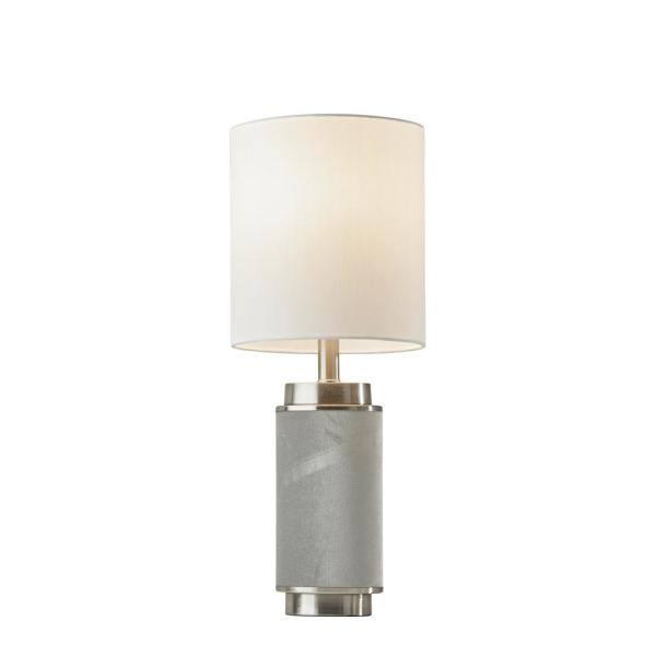 Marsha 22 in. Grey and Stainless Steel Table Lamp