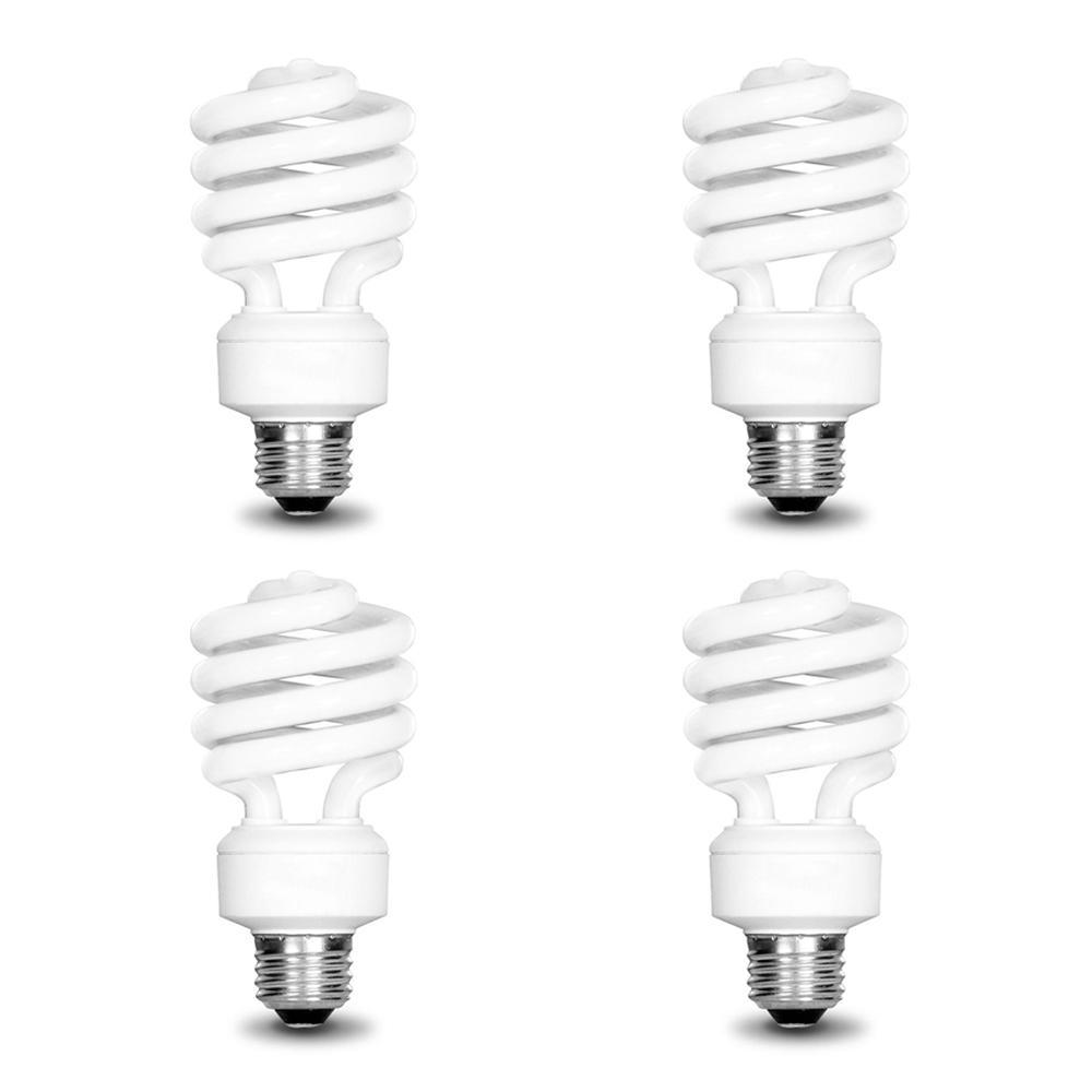Daylight 4-Pack EcoSmart 14W 5000K Spiral CFL Light Bulb