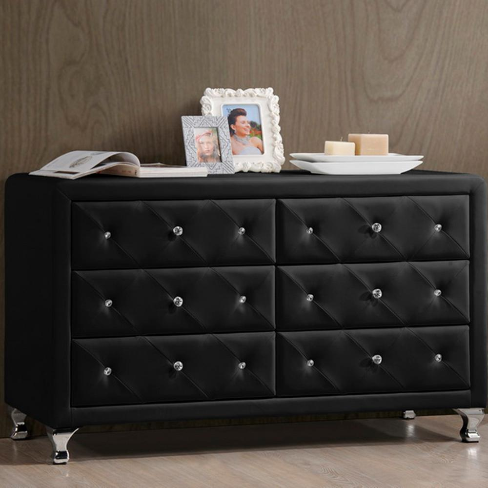 Black Faux Leather Upholstered Dresser  Dressers Chests Bedroom Furniture The Home Depot