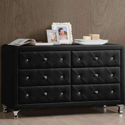Stella 31.6 in. x 51.75 in. Black Faux Leather Upholstered Dresser